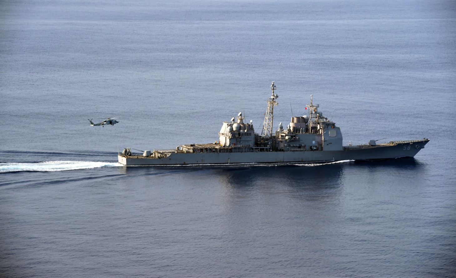 The Ticonderoga-class guided-missile cruiser USS Philippine Sea (CG 58) participates in a vertical replenishment-at-sea exercise with a Sikorsky Seahawk helicopter assigned to the Spanish frigate Álvaro de Bazán (F 101) in the Mediterranean Sea, Aug. 26, 2020. Philippine Sea is currently deployed to the U.S. 6th Fleet area of operations in support of regional allies and partners and U.S. national security interests in Europe and Africa.