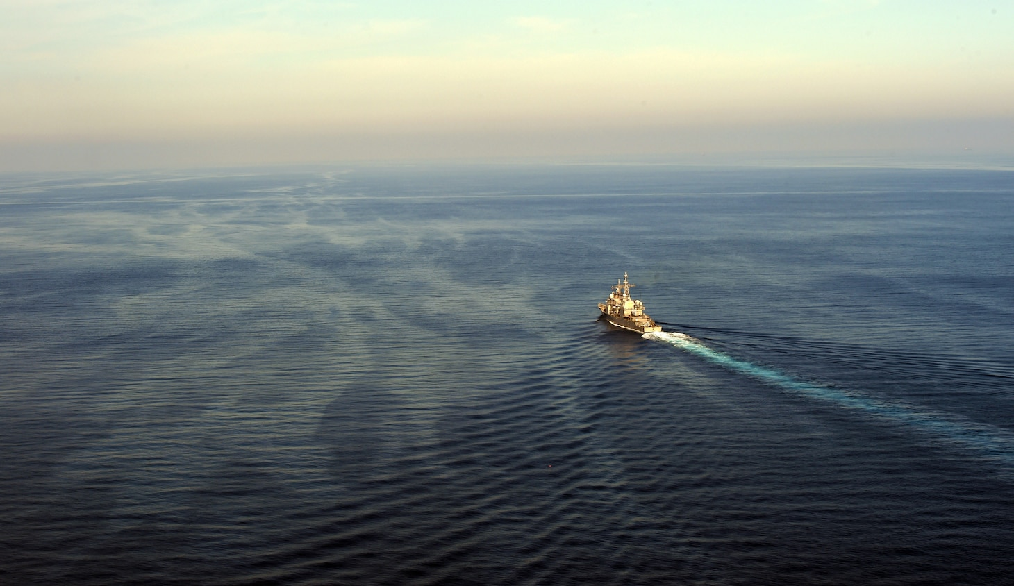 The Ticonderoga-class guided-missile cruiser USS Philippine Sea (CG 58) sails in the Mediterranean Sea after participating in a vertical replenishment-at-sea exercise with the Spanish frigate Álvaro de Bazán (F 101), Aug. 26, 2020. Philippine Sea is currently deployed to the U.S. 6th Fleet area of operations in support of regional allies and partners and U.S. national security interests in Europe and Africa.
