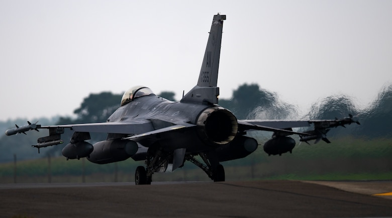 A U.S Air Force F-16 Fighting Falcon assigned to the 510th Fighter Squadron, Aviano Air Base, Italy, arrives at Royal Air Force Lakenheath, England, Aug. 28, 2020.  Aircraft and Airmen from the 510th FS are participating in a flying training deployment event to enhance interoperability, maintain joint readiness and strengthen relationships with regional allies and partners. (U.S. Air Force photo by Airman 1st Class Jessi Monte)