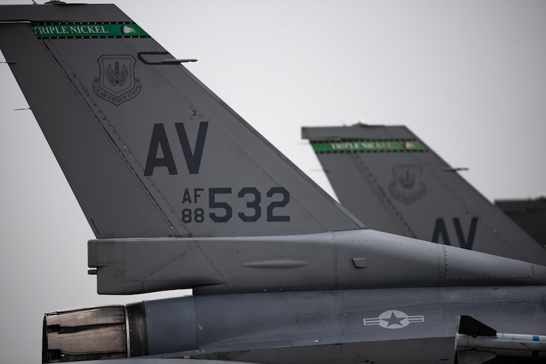 U.S. Air Force F-16 Fighting Falcons assigned to the 510th Fighter Squadron, Aviano Air Base, Italy, arrive at Royal Air Force Lakenheath, England, Aug. 28, 2020. Aircraft and Airmen from the 510th FS are participating in a flying training deployment event to enhance interoperability, maintain joint readiness and strengthen relationships with regional allies and partners. (U.S. Air Force photo by Airman 1st Class Jessi Monte)