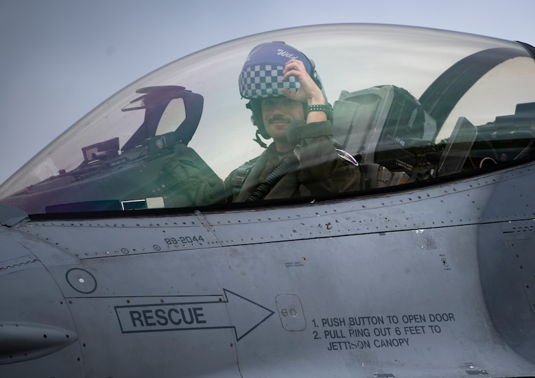A U.S. Air Force pilot, assigned to the 510th Fighter Squadron, Aviano Air Base, Italy, arrives at Royal Air Force Lakenheath, England, Aug. 28, 2020. Aircraft and Airmen from the 510th FS are participating in a flying training deployment event to enhance interoperability, maintain joint readiness and strengthen relationships with regional allies and partners. (U.S. Air Force photo by Airman 1st Class Jessi Monte)