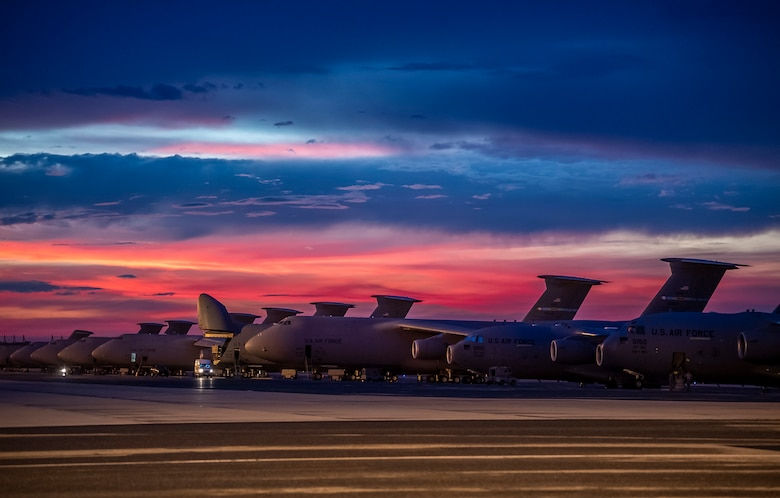 Sun sets over Dover AFB flight line