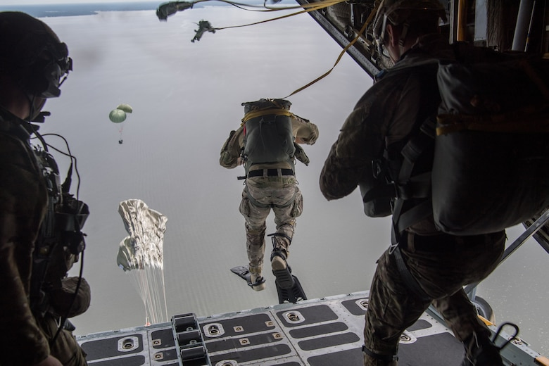 Special Tactics operators conduct static line jump training