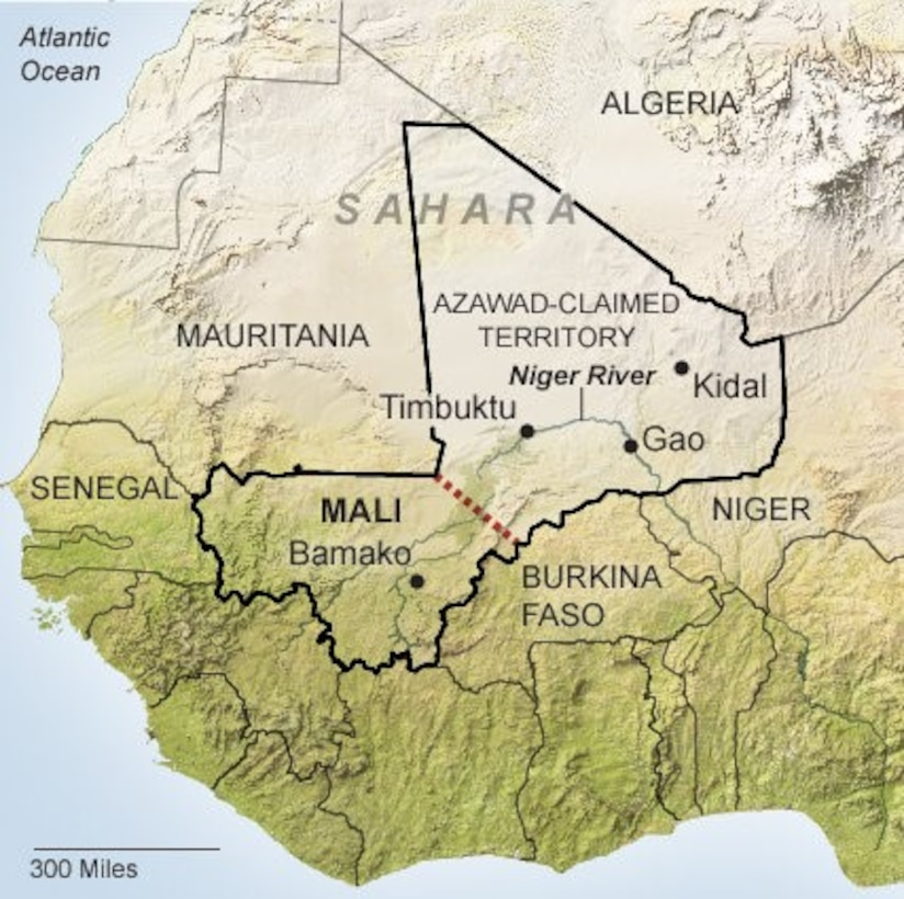 The traditional location of the Azawad