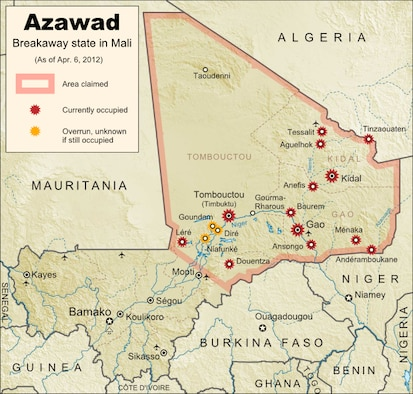 MNLA declared state of Azawad as of 6 April 2012