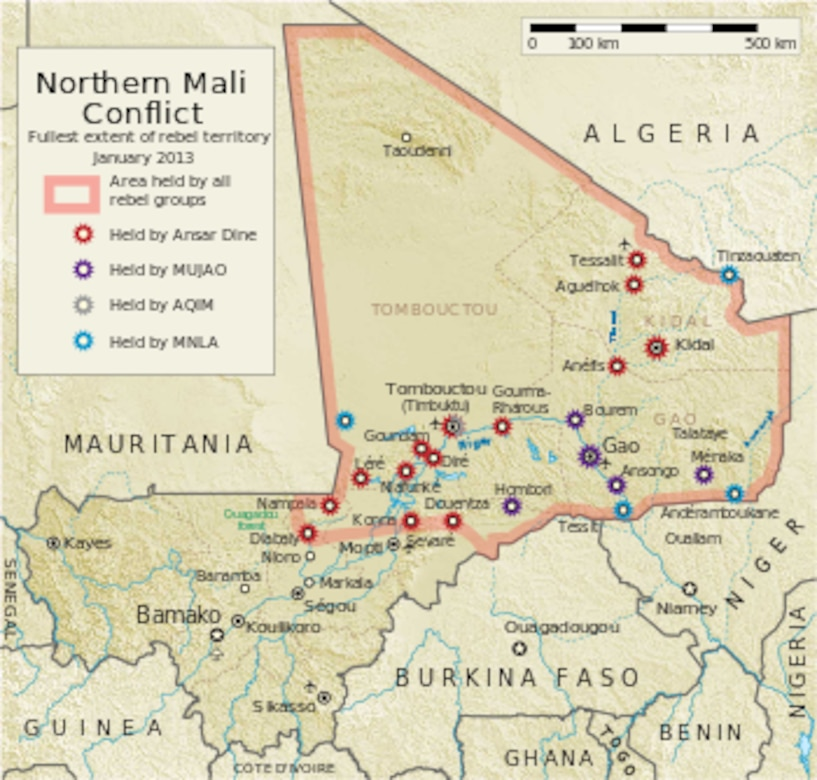 Furthest extent of jihadist rebel territory before French intervention