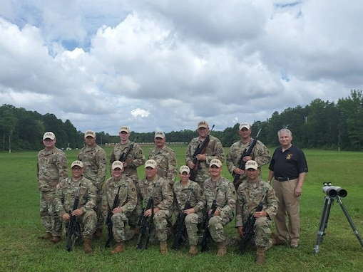 The Army Reserve team won the High Reserve Component in Match #13, the Interservice Rifle Team Championship (10 Man Team match). Back row (L to R):  COL Christopher Baer, SSG Sean Morris, MAJ David Yerkes, MSG Joseph Braswell, SFC John Arcularius, SFC Adam Stauffer, Mr. Stephen Austin (ACAR).