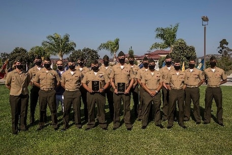 U.S. Marine Corps Expeditionary Contracting Platoon, Combat Logistics Regiment 17, 1st Marine Logistics Group, I Marine Expeditionary Force, pose for a group photo after receiving Expeditionary Contracting Team of the Year award during an award ceremony on Marine Corps Base Camp Pendleton, California, Aug. 25, 2020.