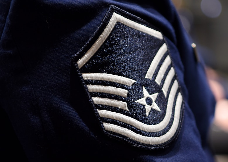 The rank of master sergeant rests on the sleeve of Master Sgt. Mickey Bretado, 313th Training Squadron, at the Senior Noncommissioned Officer Induction Ceremony at the event center on Goodfellow Air Force Base, Texas, Aug. 27, 2020. Becoming a master sergeant was the beginning of becoming an operational leader and the end of their role as the front line technicians of the Air Force. (U.S. Air Force photo by Airman 1st Class Ethan Sherwood)