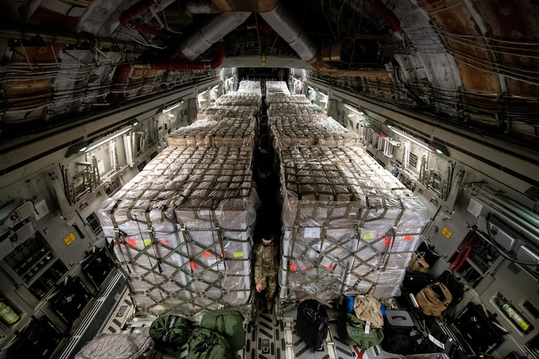 Pallets loaded into a C-17 aircraft.