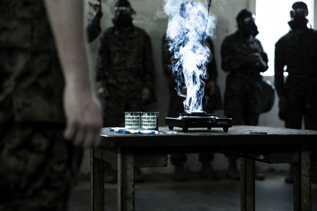 U.S. Marines undergo chemical, biological, radiological, and nuclear defense training at Camp Lejeune, N.C., Aug. 13.