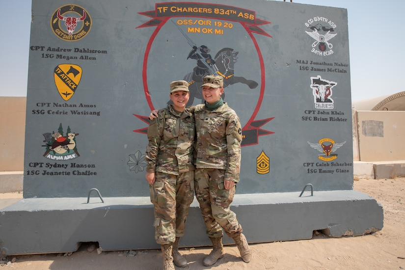 (Left to right) Pfc. Nicole Dubois stands next to her sister, Spc. Sarah Dubois at their usual lunch spot in front of their 834th Aviation Support Battalion T-Wall on July 29, 2020. The Minnesota National Guard siblings are deployed to Camp Buehring, Kuwait on their first deployment and regularly spend their free time together. (U.S. Army photo by Sgt. Sydney Mariette)