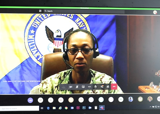 Capt. Janice G. Smith, Commodore, Military Sealift Command Atlantic, addresses service members and civilian teammates remotly during MSC's virtual special observance held in honor of Women's Equality Day, Aug. 24.