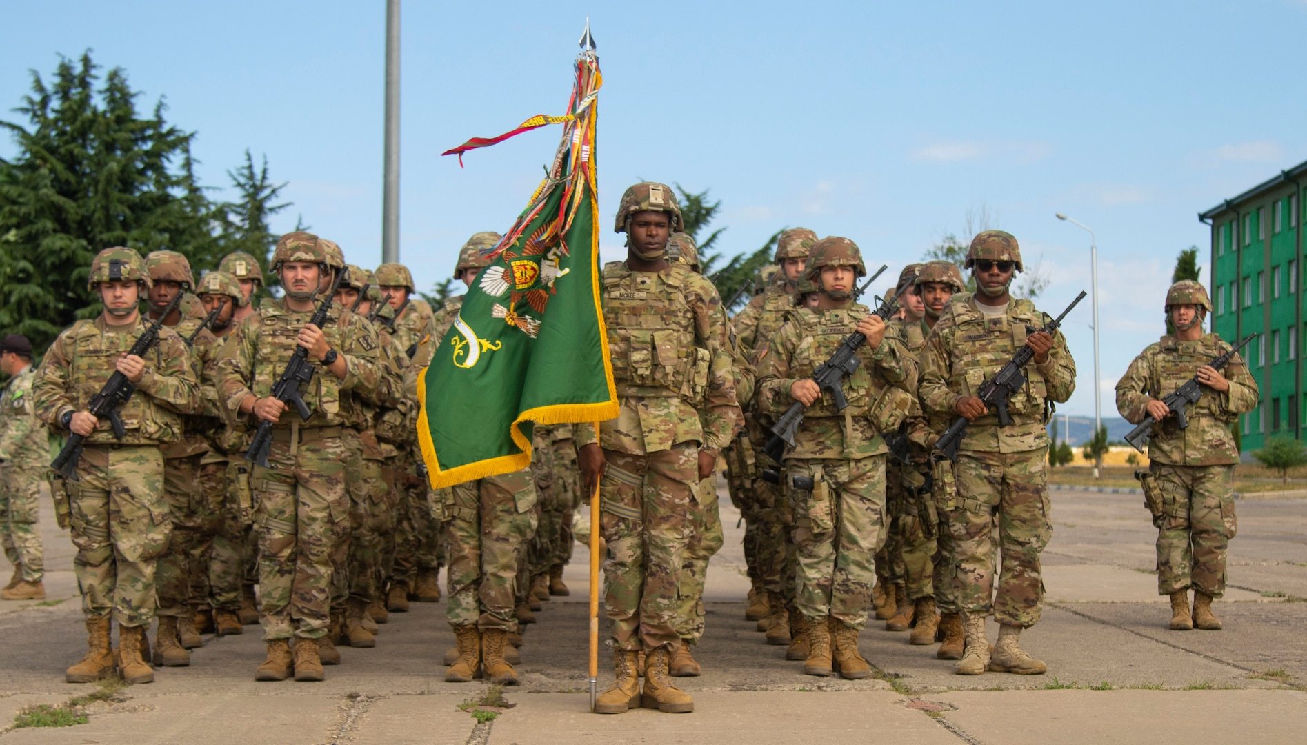 Members of the Georgia Army National Guard with the Monroe-based 178th Military Police Company stand in formation during the opening ceremony for Agile Spirit 19 at Vaziani Training Area on July 27, 2019. Participation in joint, multinational exercises like AgS19 enhances professional relationships and improves overall coordination with allies and partners during a crisis.