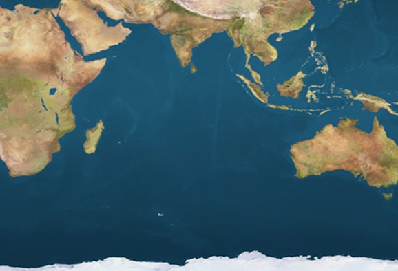 A map depicting the Indian Ocean Region, stretching from Australia to the east coast of Africa and from the underbelly of Asia to the shores of Antarctica.