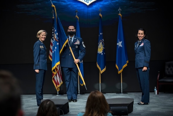 Brig. Gen. Jeannine Ryder (right) assumed command of the Air Force Research Laboratory's 711th Human Performance Wing during a virtual change of command ceremony Aug. 31, 2020 at the Air Force Institute of Technology here. Brig. Gen. Heather Pringle (left), AFRL commander,  presided over the ceremony, which was streamed live on AFIT's YouTube page to encourage social distancing during the COVID-19 pandemic. (U.S. Air Force photo/Richard Eldridge)