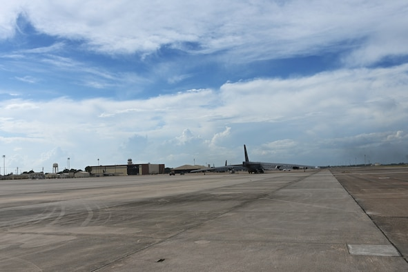 A B-52 sits on the flight line at Barksdale.
