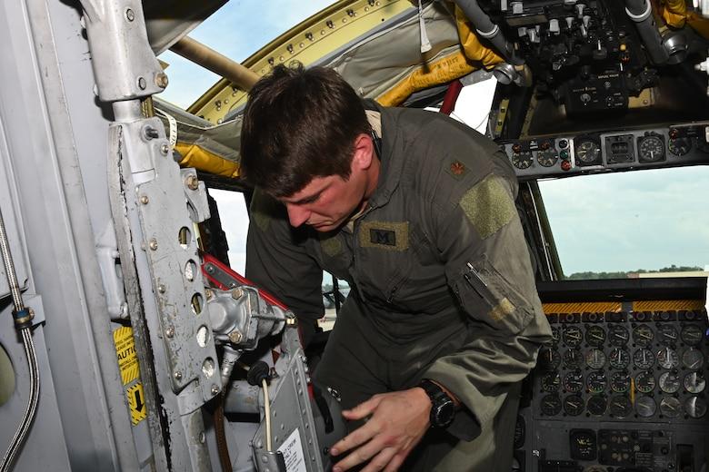 A pilot readies the cockpit of a B-52