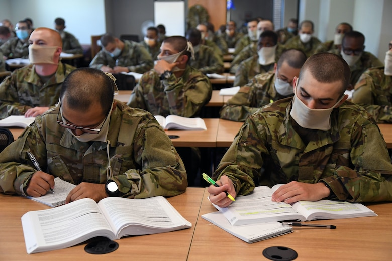 Military trainees in class.