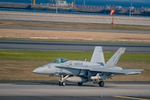 A F/A-18C Hornet with Marine Fighter Attack Squadron 115 taxi aboard Marine Corps Air Station (MCAS) Iwakuni Japan, April 28, 2020. During the exercise, Marine Aircraft Group 12 squadrons focused on naval missions and simulated anti-ship long range fires in order to enhance the Marine Corps' ability to effect sea control and denial in the Indo-Pacific, in-line with Force Design 2030. (U.S. Marine Corps photo by Cpl. Lauren Brune)