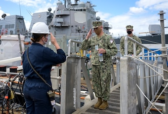 Master Chief Petty Officer of the Navy (MCPON) Russell Smith requests to come aboard the guided-missile destroyer USS Hopper (DDG 70).