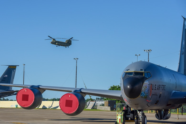 a chinook approaches the 171st Air refueling wing ramp to land.