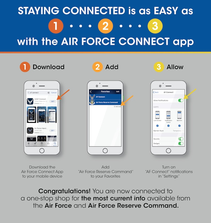 How to download the Air Force Connect App and how to favorite the Air Force Reserve Command on the app, Robins Air Force Base, Georgia. (U.S. Air Force photo)
