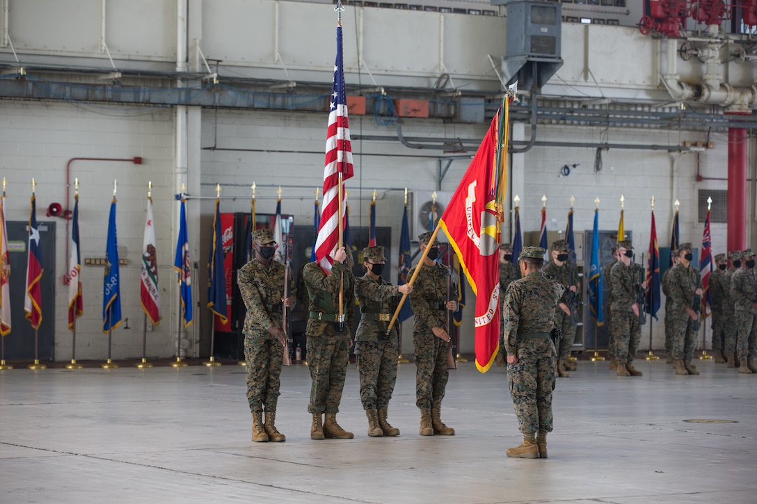 U.S. Marines with the Headquarters and Headquarters Squadron (H&HS) color guard, present the Marine Corps flag during a relief and appointment ceremony at Marine Corps Air Station Cherry Point (MCAS), North Carolina, Nov. 6, 2020. The ceremony was held to transition the position of H&HS sergeant major from Sgt. Maj. Thomas J. Korabik Jr. to Sgt. Maj. James I. Petty. (U.S. Marine Corps photo by Lance Cpl. Jacob Bertram)