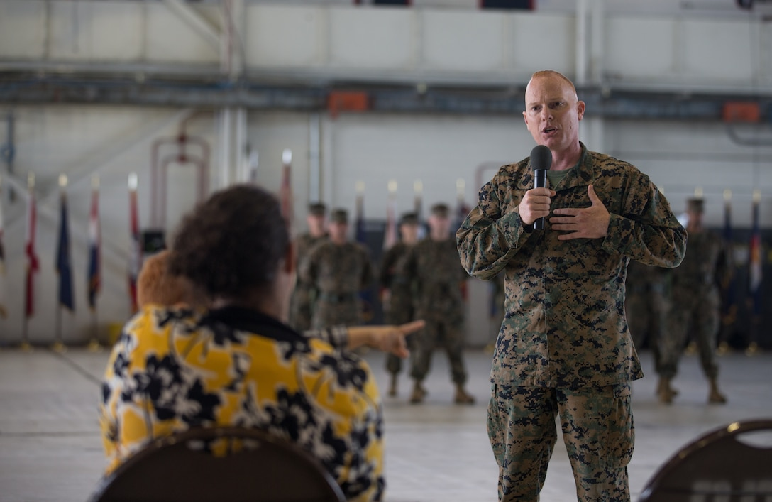 Sgt. Maj. James I. Petty, the new Headquarters and Headquarters Squadron (H&HS), thanks his family for their support during a relief and appointment ceremony at Marine Corps Air Station Cherry Point (MCAS), North Carolina, Nov. 6, 2020. The ceremony was held to transition the position of H&HS sergeant major from Sgt. Maj. Thomas J. Korabik Jr. to Petty. (U.S. Marine Corps photo by Lance Cpl. Jacob Bertram)
