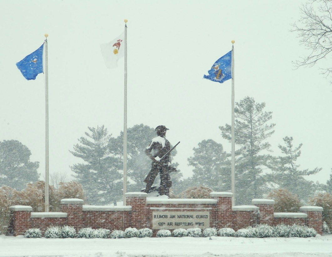Air National Guard Minute Man in Winter at 126th Air Refueling Wing.