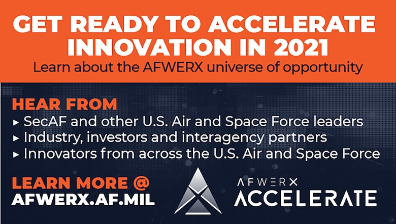 AFWERX's inaugural Accelerate event will be held virtually Dec. 7-11, 2020. The event will highlight how AFWERX is institutionalizing air and space innovation across the Department of the Air Force. (U.S. Air Force courtesy graphic)