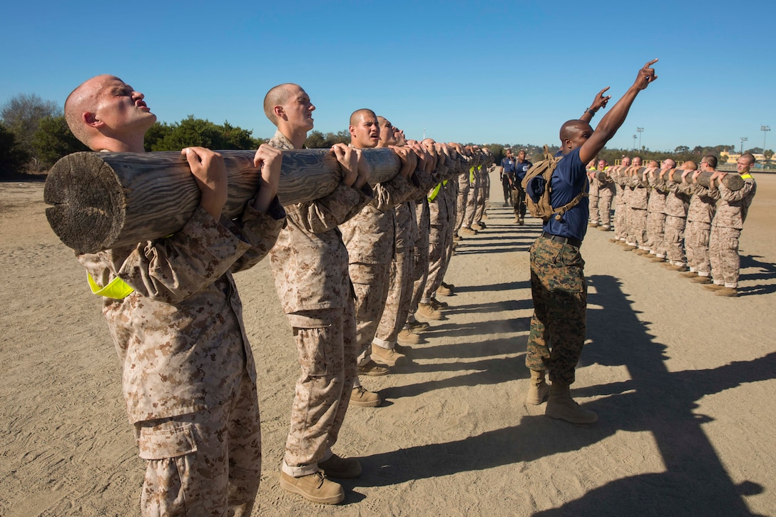 Marine Corps recruits stand in lines while carrying logs.