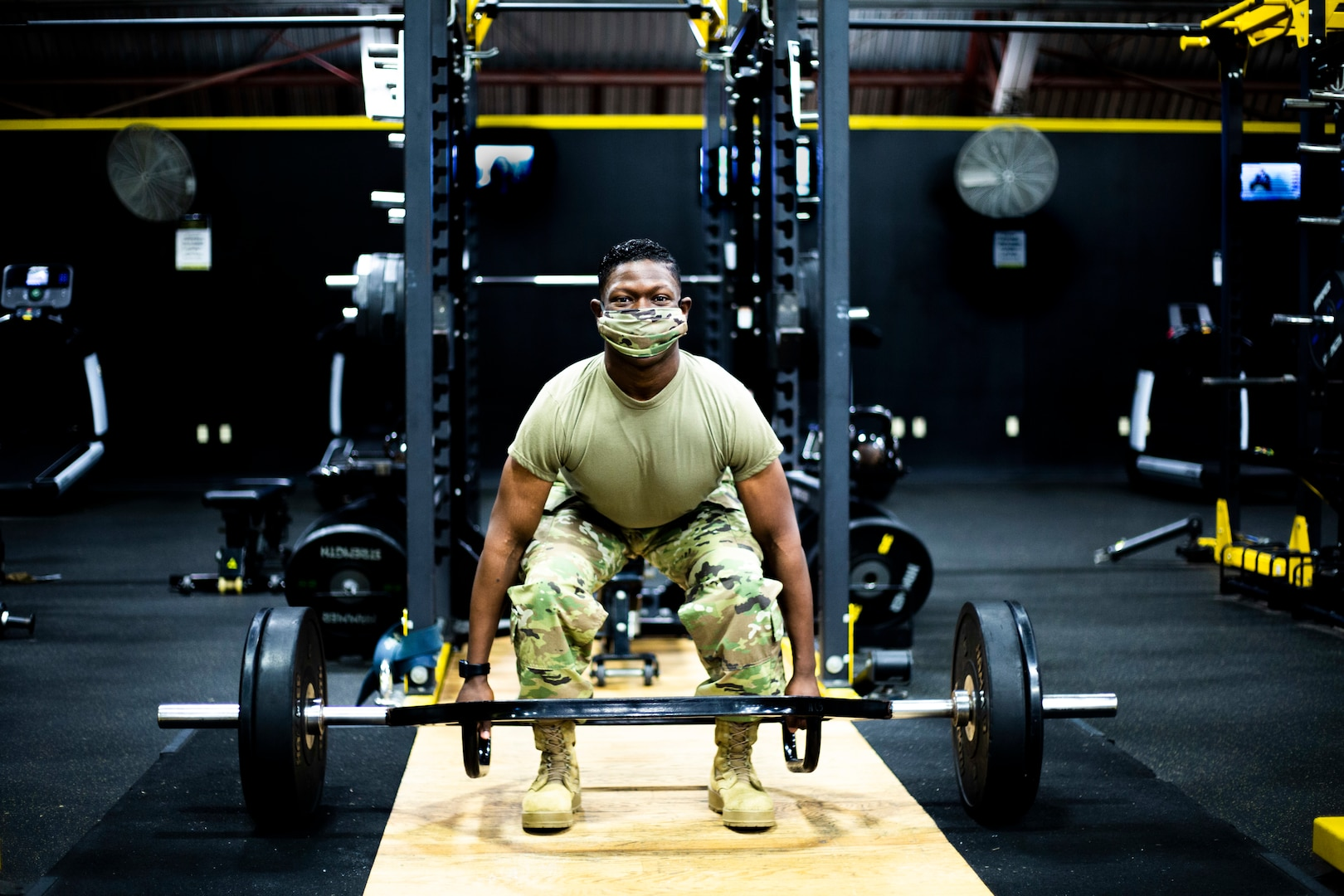 Staff Sgt. Roger Jackson trains for the Army Combat Fitness Test by honing his dead lift skills Nov. 7, 2020, at Fort Lee, Virginia.