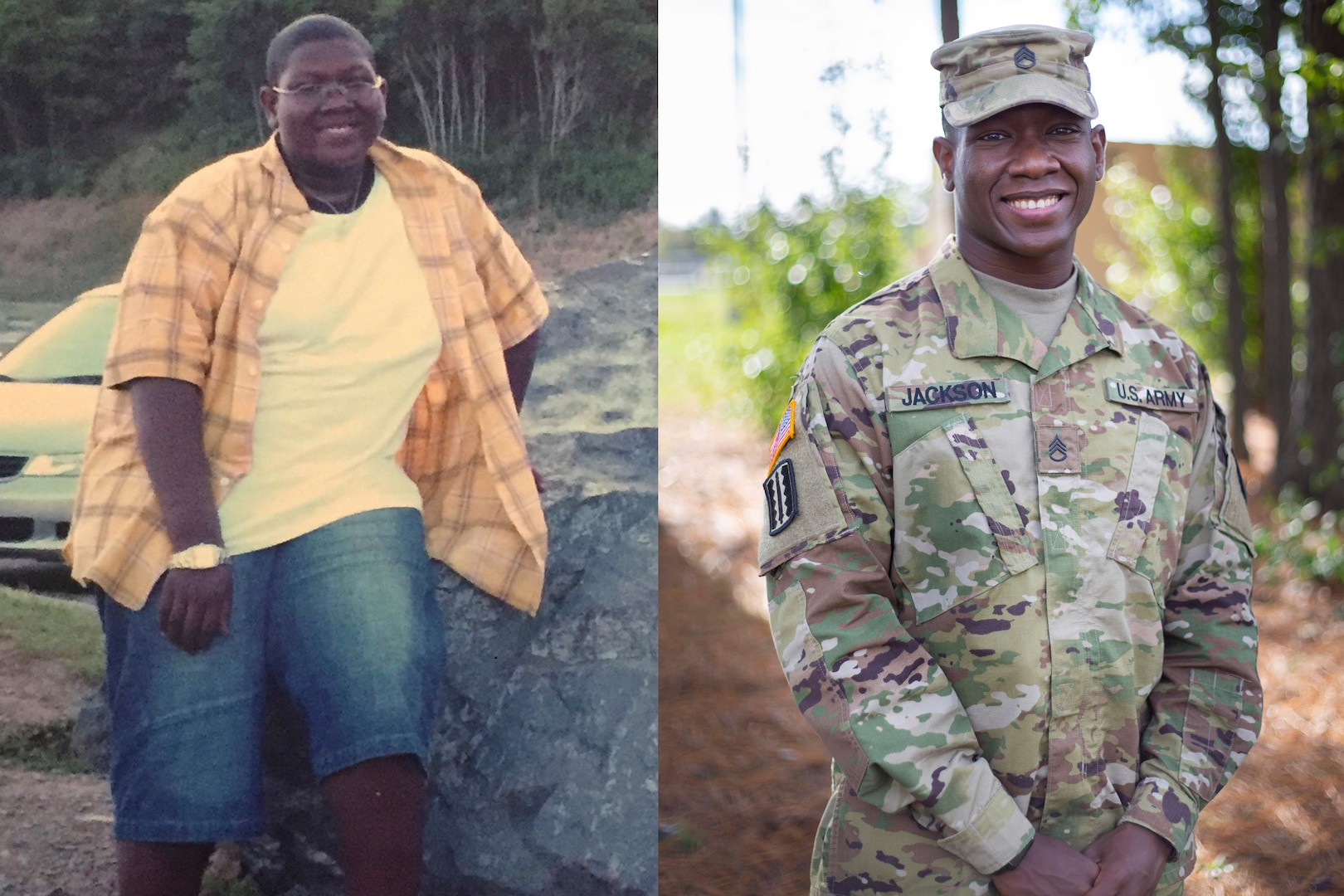 Staff Sgt. Roger Jackson, assigned to the 183rd Regional Regiment, Training Institute, weighed 250 lbs at the age of 17 (left), lost 80 lbs and today maintains a high-level of physical and mental toughness through regular and consistent training.