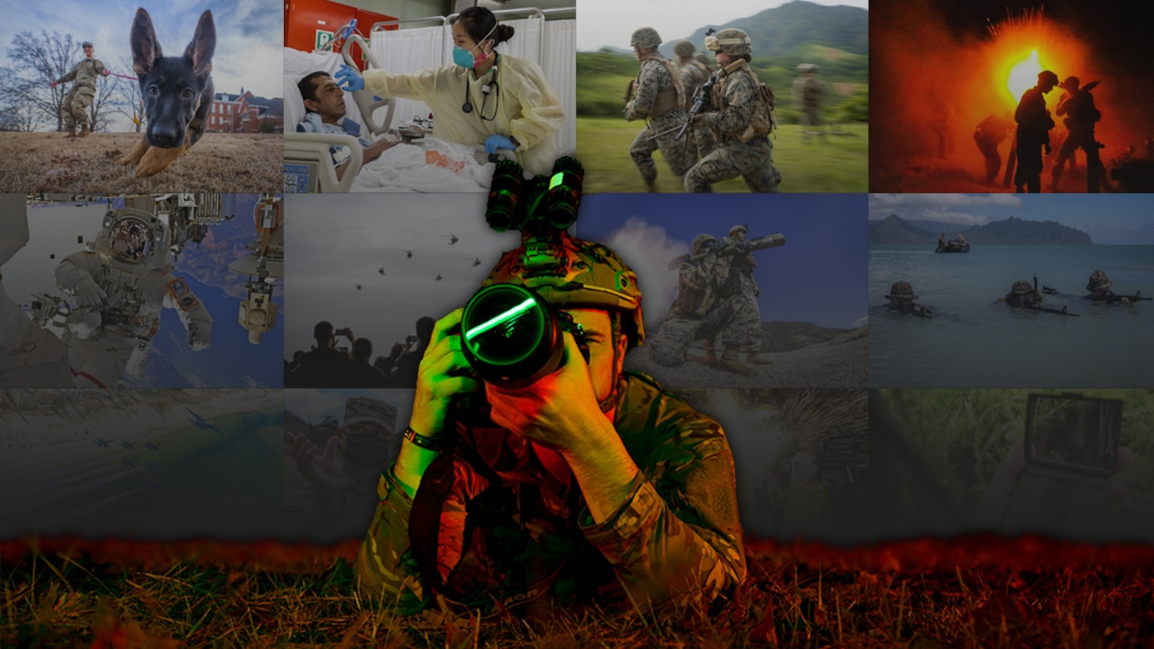 A service member lies on the ground and looks through a camera lens against a backdrop of multiple photos in a collage.