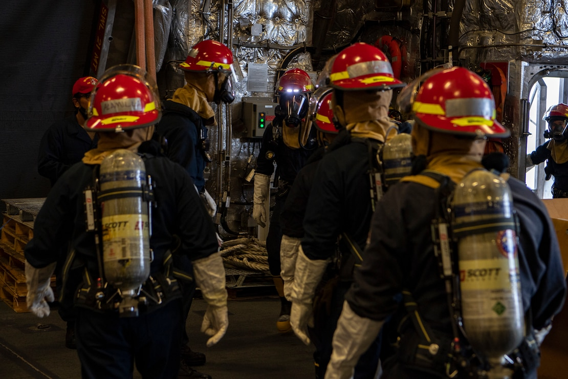 Sailors aboard Independence-variant littoral combat ship USS Gabrielle Giffords (LCS 10) conduct damage control drills, November 28, 2020.