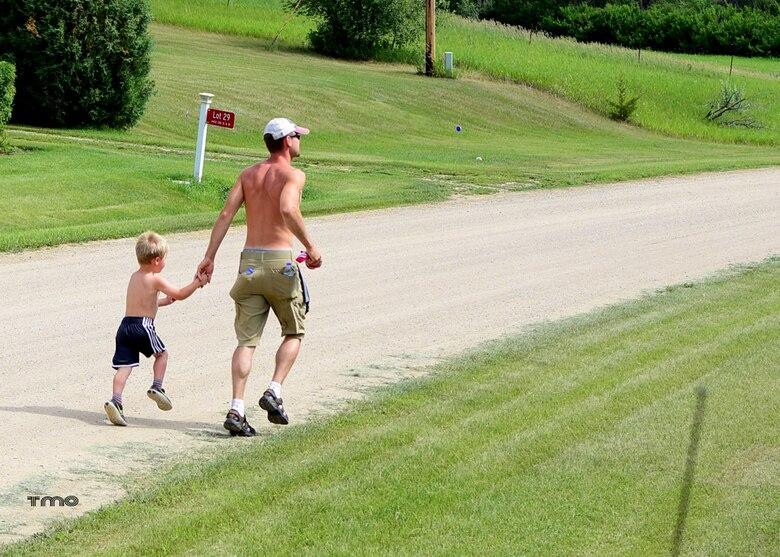 Runners participate in the Hide Away Bay 5K at Douglas Creek recreation area, Lake Sakawea, North Dakota, June 2020