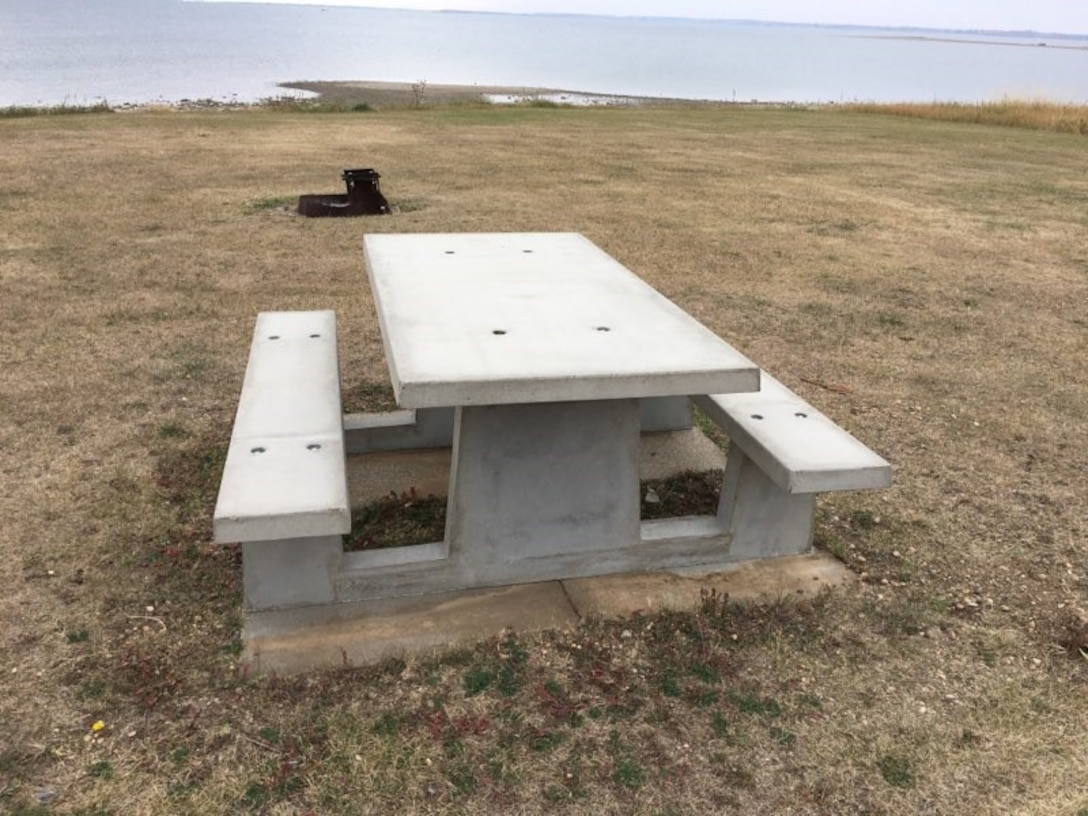 Non-profit organization, ND Rural Races uses half of the proceeds from the Hide Away Bay 5K contribute a customize an 800-pound, precast concrete table to a look-out at Douglas Creek recreation area, Lake Sakawea, North Dakota, October 2020.