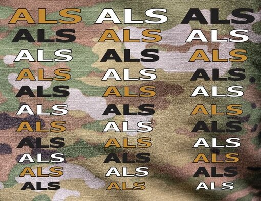A graphic of different colored text on an operational camouflage pattern.