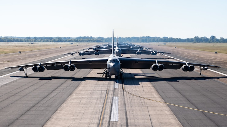 B-52H Stratofortresses from the 2nd Bomb Wing line up on the runway at Barksdale Air Force Base, La., Oct. 14, 2020.