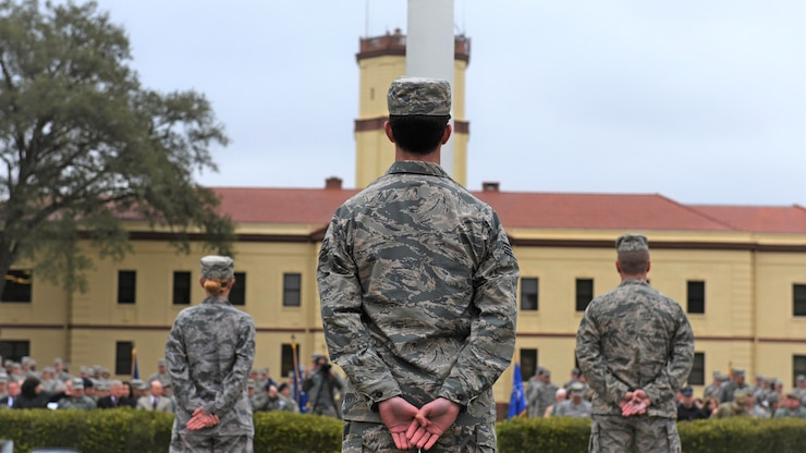 Bomber Airmen from across the country gather around the 2nd Bomb Wing flag pole for a retreat ceremony at Barksdale Air Force Base, La., Feb. 2, 2016.