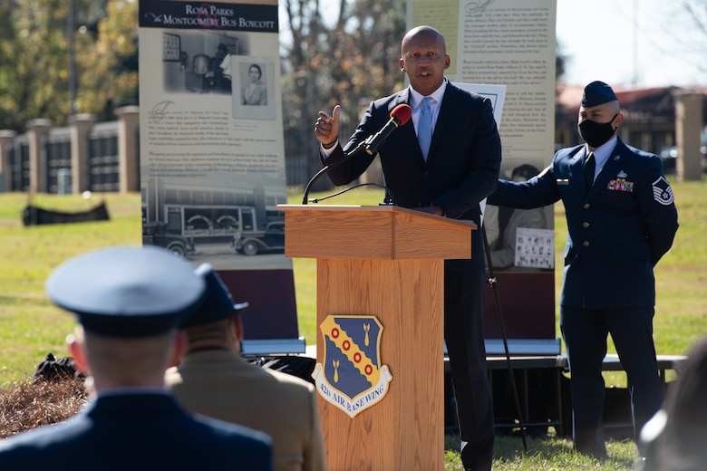 Bryan Stevenson, Equal Justice Initiative director, speaks during a memorialization ceremony in honor of Rosa Parks on the 65th Anniversary of her refusal to give up her seat on a Montgomery Bus Dec. 1, 2020, on Maxwell Air Force Base, Alabama. The event featured an unveiling of a new Rosa Parks sculpture created by Ian Mangum, a 42nd Force Support Squadron team member. (U.S. Air Force photo by Senior Airman Charles Welty)