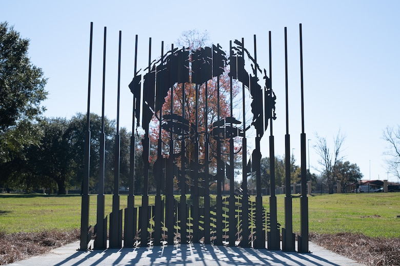 A new Rosa Parks sculpture created by Ian Mangum, a 42nd Force Support Squadron team member, sits on display shortly after its unveiling Dec. 1, 2020, on Maxwell Air Force Base, Alabama. Many people may know of the work Rosa Parks did during the civil rights movement, but less may know she worked on Maxwell Air Force Base in the 1940s. (U.S. Air Force photo by Senior Airman Charles Welty)