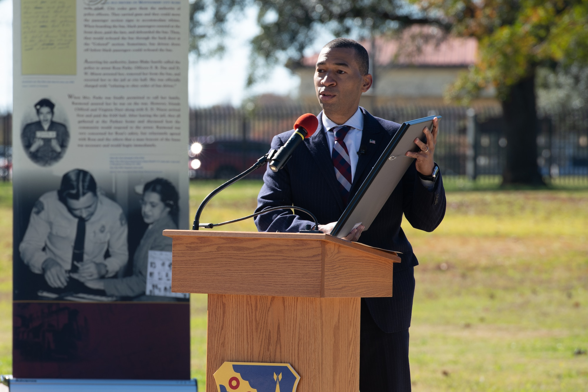 The Mayor of Montgomery Steven Reed speaks during a memorialization ceremony in honor of Rosa Parks on the 65th Anniversary of her refusal to give up her seat on a Montgomery Bus Dec. 1, 2020, on Maxwell Air Force Base, Alabama. A few of the other distinguished visitors in attendance were the Secretary of the Air Force Barbara Barrett, Bryan Stevenson, Equal Justice Initiative director and Lt. Gen. Brad Webb, Air Education and Training Command commander, who watched the event via live stream. (U.S. Air Force photo by Senior Airman Charles Welty)