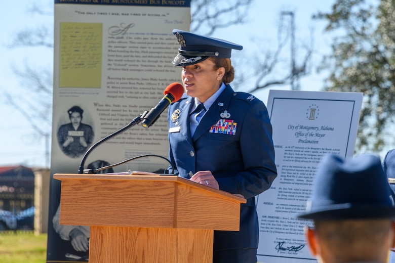 Col. Eries Mentzer, commander of the 42nd Air Base Wing, speaks during a memorialization ceremony on Maxwell Air Force Base, Alabama, Dec. 1, 2020, the 65th anniversary of her arrest for refusing to give up her seat on a Montgomery bus. This event marked the start of a 382-day effort to help increase inclusion so that all Airmen here at Maxwell can rise to their best. To help make this possible, Mentzer formed a team of individuals from around the Maxwell-Gunter community called the Freedom to Serve Initiative, whose goal is to help identify and form solutions to obstacles that may be impeding Airmen's success. (U.S. Air Force photo by Trey Ward)
