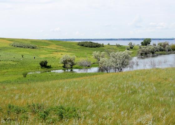 Participants in the Hide Away Bay 5K Race run around the Douglas Creek Recreation Area at Lake Sakakawea in North Dakota, June 20, 2020.