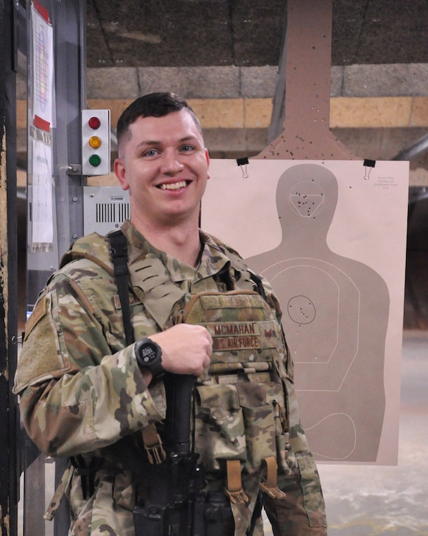 Staff Sgt. Jalen McMahan, 445th Security Forces Squadron fire team member, poses for a photo after completing training at the firing range, Nov. 8, 2020 at Wright-Patterson Air Force Base, Ohio.