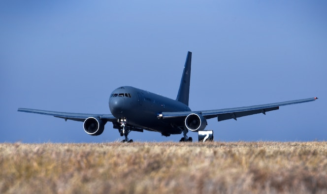 McConnell's first KC-46A Pegasus lands on the flightline Jan. 25, 2019, at McConnell Air Force Base, Kansas. The KC-46 will serve alongside the KC-135 Stratotanker at McConnell and supply critical aerial refueling, airlift and aeromedical evacuations at a moment's notice for America's military and allies. (U.S. Air Force photo by Airman 1st Class Michaela R. Slanchik)