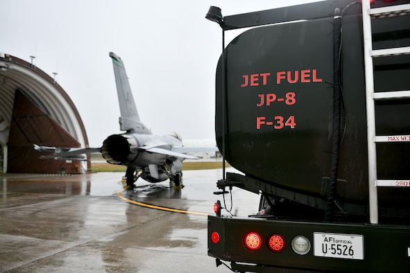 An F-16 Fighting Falcon assigned to the 31st Fighter Wing awaits refueling at Aviano Air Base, Italy, Dec. 2, 2020. The 31st FW participated in surge flying throughout the week. Surge flying is a period of increased operations for those working on the flightline as sorties increase to provide ample training opportunities to pilots. (U.S. Air Force photo by Staff Sgt. K. Tucker Owen)