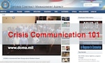 """Graphic of DCMA homepage and text """"Crisis Communication 101"""" in bold red."""